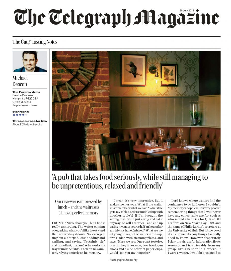Daily Telegraph Restaurant Review